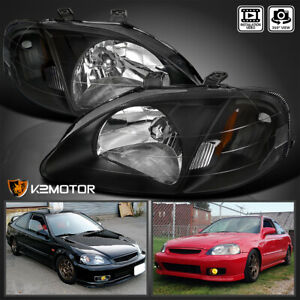 For 1999 2000 Honda Civic EK EJ LX EX SI Headlights Lamps Black LeftRight