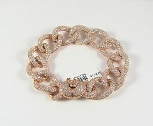 New Sterling Silver 925 Rose Gold Plated with CZ's Fancy Elegant Chain Bracelet