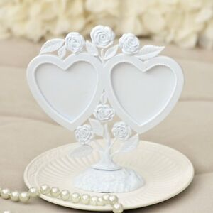 White Vintage Twin Hearts Photoframe Cake Topper w Roses