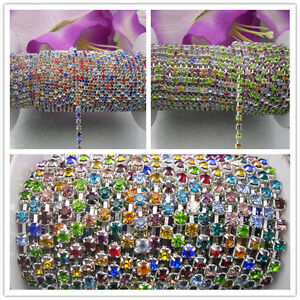 2&10yard Mix color crystal glass rhinestone close Silver trims chain Applique