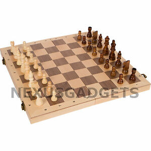 Alon Chess LARGE 16 Inch Game Set RANK AND FILE FOLDING Inlaid Wood Board Pieces $39.99