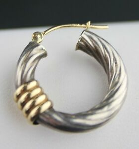 SINGLE 1 PC TIFFANY & CO  18 KT GOLD AND STERLING HOOP EARRING 1.4 GRAMS