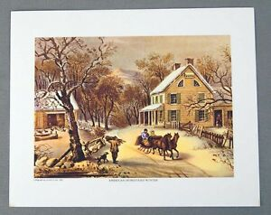 Vintage 1970#x27;s Currier and Ives American Homestead Winter Print $11.99