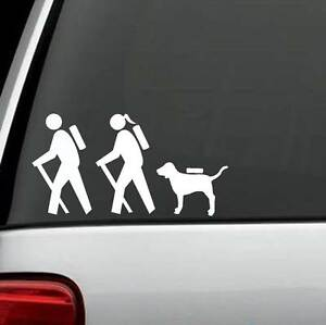 HIKER COUPLE HIKING DOG BACKPACK CAMPING FAMILY Sticker Decal TRUCK SUV LAPTOP