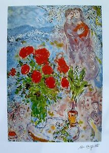 MARC CHAGALL quot;RED BOUQUET WITH LOVERSquot; Facsimile Signed amp; Numbered Lithograph $59.99