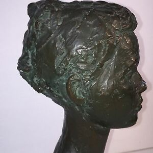 Bust Bronze Over Plaster Head Of Young Girl signed Copyrighted Reproduction