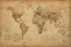 ANTIQUE STYLE WORLD MAP POSTER PRINT SIZE: 36quot; X 24quot; SEPIA BROWN