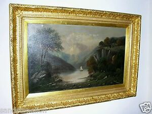 ANTIQUE HUDSON RIVER SCHOOL OIL PAINTING LARGE SIZE CIRCA 1800'S SIGNED $7,635.00