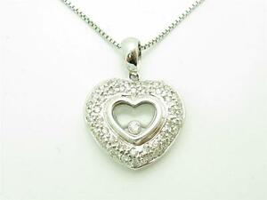 14kt White Gold Genuine White Diamond Floating Heart Pave Design Necklace Gift