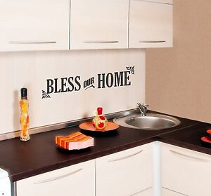 Bless Our Home Wall Decal quote art decor vinyl removable sticker words mural