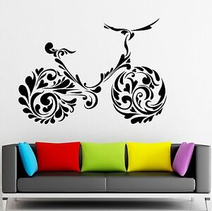 Wall Sticker Vinyl Decal Bike Pattern Decor Sports Healthy Lifestyle (ig2089)