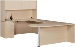 New Amber Bullet U-Shape Computer Corner Executive Office Desk with Hutch