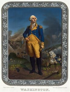 6140.George Washington in military uniform on battlefield.POSTER.Home Office art