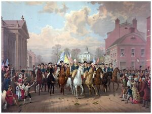 5957.George washington marching into town coming from war.POSTER.Home Office art