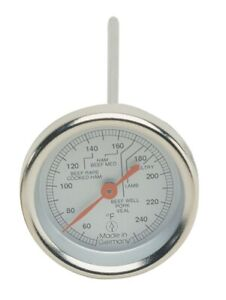Analog Meat Thermometer with Handle  - Stainless Steel -  2 inch Diameter Scale