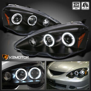 For 2002 2004 Acura RSX LED Halo Rims Projector Headlights Lamp Black LeftRight $145.38
