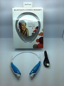LOT OF 25 NEW BLUETOOTH STEREO HEADSET HANDSFREE AROUND THE NECK UNIVERSAL BLUE