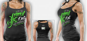 Monsta Clothing Co Womens Workout Wear Bodybuilding Gym Animal Out Tank Top NEW $26.95