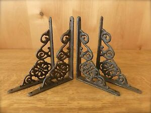 4 BROWN ANTIQUE STYLE 6.5quot; SHELF BRACKETS CAST IRON rustic garden DECORATIVE