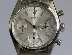Rolex Mens Stainless Steel 6238 Pre Daytona Silver Dial WRolex Service Papers