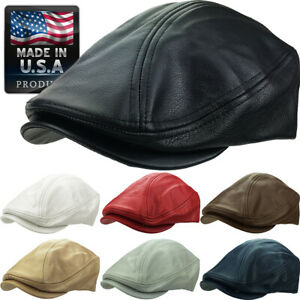 Made in USA 100% Genuine Leather Ascot Newsboy Ivy Hat Cap Gatsby $22.99