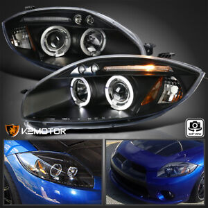 For 2006 2011 Mitsubishi Eclipse LED Halo Projector Headlights Black LeftRight $168.38