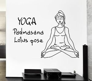 Yoga Wall Decal Lotus Pose Meditation Om Zen Buddhism Stickers Art Mural i2513