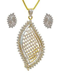 Fine Designer 18k Yellow Gold Pendant Set With Baguettes & Round Shape Diamonds