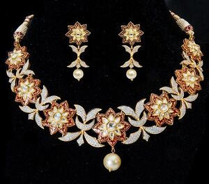 Finest Designer Fusion Theme Necklace Set with Gold Diamonds Pearl Drops