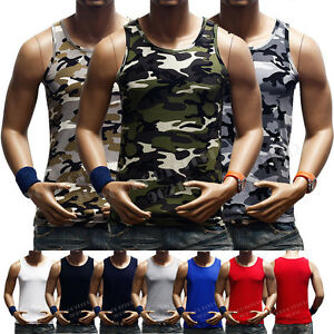 Men Tank Top Muscle T Shirt Camo Sleeveless A Shirt Cotton Sports Hipster GYM $8.95