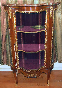 VITRIN 19C FRENCH BRONZE WORK AND GLASS DOORS  WITH MARBEL TOP :57