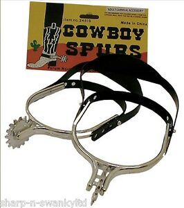 Mens Cowboy Spurs Wild West Fancy Dress Costume Outfit Accessory