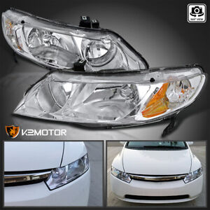 For 2006 2011 Honda Civic 4Dr Sedan Clear Headlights Head Lamps LeftRight Pair