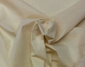 MUSLIN NATURAL 100% COTTON HEAVY QUALITY UNBLEACHED FABRIC BY THE YARD 47quot; WIDE $4.69
