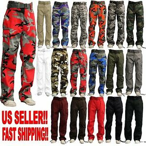 MEN MILITARY ARMY CAMOFLAUGE CAMO CARGO PANT COMBAT CARGO PANTS 15 COLOR $25.95