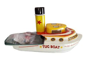 tin toy steam tug boat candle powered blue