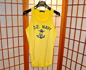 DSQUARED2 YELLOW TANK TOP MUSCLE SLEEVELESS T-SHIRT VINTAGE  jean XS X-SMALL S