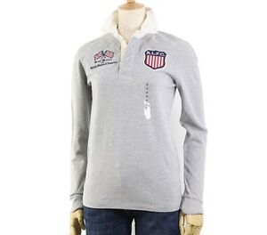 Ralph Lauren Sport Women's USA Flag Patch Rugby Shirt in Size SMLXL in Gray