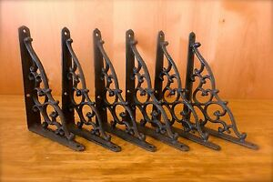 6 BROWN ANTIQUE STYLE 7quot; SHELF BRACKETS CAST IRON garden wall rustic CLASSIC