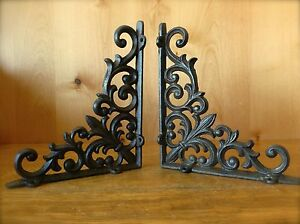 2 BROWN ANTIQUE STYLE 9quot; CAST IRON SHELF BRACKETS brace garden VINE FLEUR DE LIS