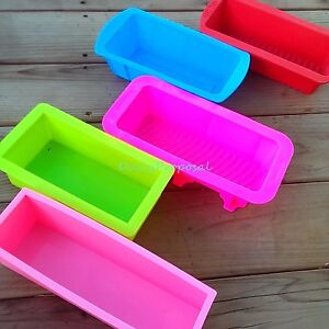 L Rectangle Silicone Mold Brick Soap Pastry Toast Bread Loaf Cake Bakeware Large