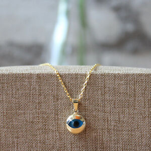 14K Yellow Solid Gold Charm Pendant Turkish Round Evil Eye Good Luck Jewelry