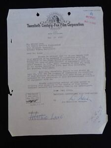 Walter Lang Director 20th Century Fox Contract 1955 Signed Lew Schreiber