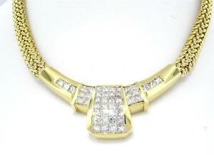 3.25 CTW PRINCESS DIAMOND FIXED BAR STATEMENT NECKLACE 14 KT YELLOW GOLD 18
