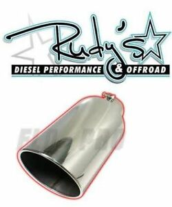 Flo Pro 12 Stainless Steel Exhaust Tip Rolled Edge Angle Cut 5 Inlet 6 Outlet $74.75