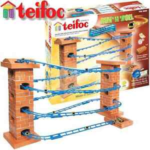 Teifoc Run'N'Roll Marble Run Real Brick & Mortar Building Construction Toy