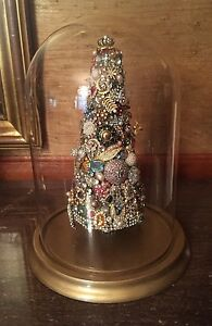 Vintage John Fontaine Rhinestone Jewelry Christmas Tree Under Glass Dome