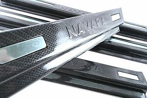 BLACK CARBON SCUFF PLATE SILL COVER FOR NISSAN NAVARA NP300 4 DOOR D23 2015 ON $28.99