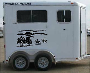 Horse Trailer Graphics Landscape RV Decal Stickers 22x40 Stickers Set of 2