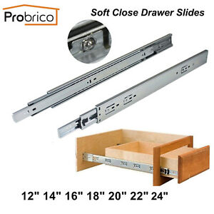Probrico Soft Close Full Extension Drawer Slides Ball Bearing Side or Rear Mount